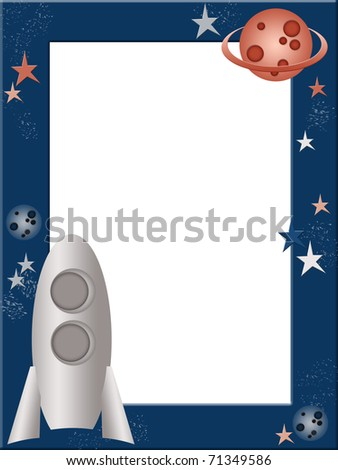 Cosmic children photo frame - stock photo