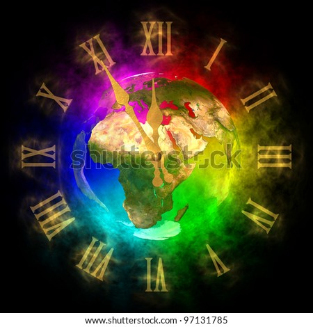 Cosmic clock - optimistic future on Earth - Europe - stock photo