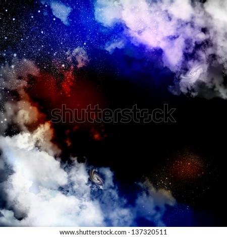 Cosmic clouds of mist on bright colorful backgrounds - stock photo
