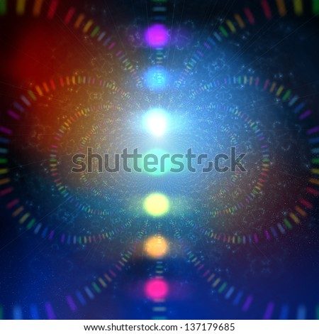 cosmic energy abstract background with rainbow corcles - stock photo