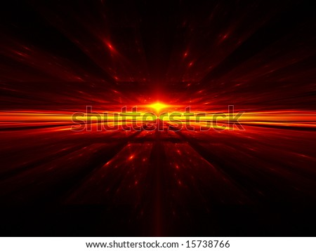 Cosmic Inferno - Fractal Illustration - stock photo