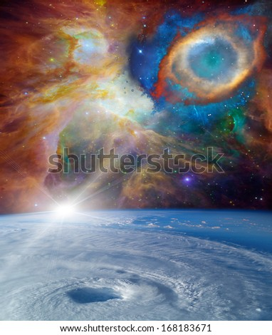 Cosmic landscape. Elements of this image furnished by NASA - stock photo