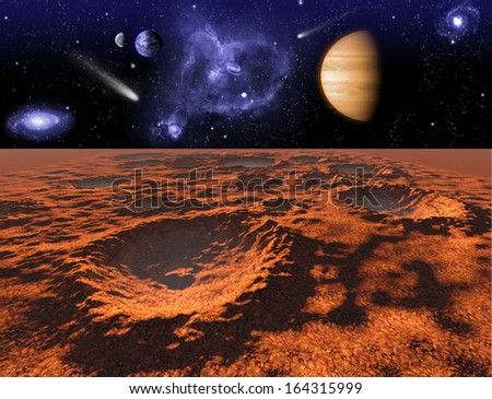 Cosmic landscape, view from Mars, Elements of this image furnished by NASA - stock photo