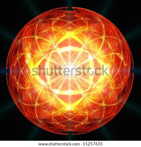 Cosmic solar heart concept - stock photo
