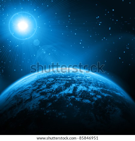 Cosmic star background . Earth, stars, rays of light - stock photo