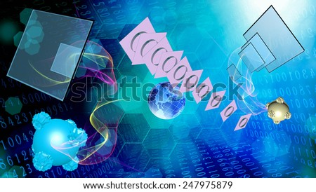 Cosmic telecommunication digital connection.Science technology - stock photo