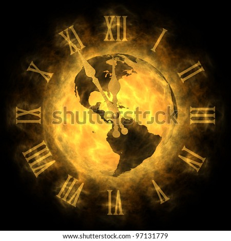 Cosmic time - global warming and climate change - America - stock photo