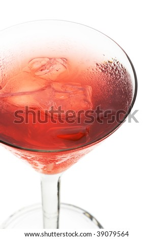 Cosmopolitan - Alcoholic Cocktail made of Gin Cointreau, Lemon Juice and Grenadine Syrup. Isolated on White Background - stock photo
