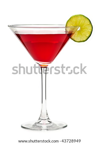 Cosmopolitan cocktail drink isolated on white background