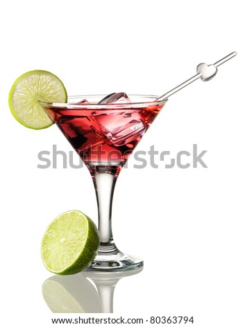Cosmopolitan cocktail isolated on white - stock photo