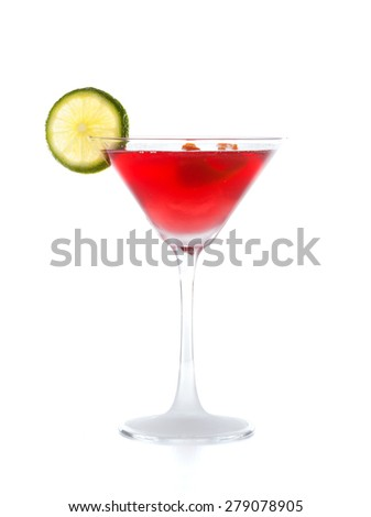 Cosmopolitan cocktail with lime isolated on white. - stock photo