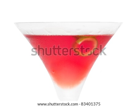 cosmopolitan drink cocktail straight up on martini cup with lime peel isolated on white background - stock photo