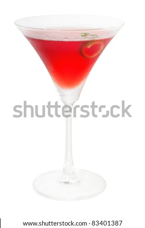 cosmopolitan drink cocktail straight up on martini cup with lime peel isolated on white background