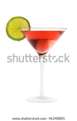 Cosmopolitan mixed drink with lime slice on a white background - stock photo