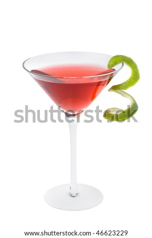 Cosmopolitan mixed drink with lime twist on a white background - stock photo