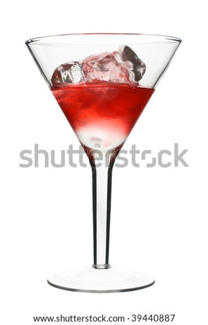 Cosmopolitan - Red Alcoholic Cocktail. Isolated on White Background - stock photo