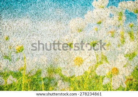 Cosmos flowers in mulberry paper texture style vintage for background. - stock photo