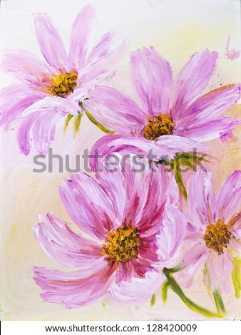 Cosmos Flowers, oil painting on canvas - stock photo