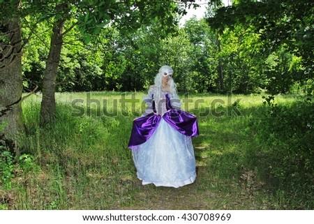 Cosplay scene / unicorn (Amalthea in park) - stock photo