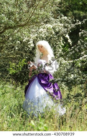 Cosplay scene / unicorn (Amalthea in the fairy forest)