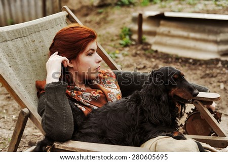Cossack in the Russian scarf, girl in the village, rural beauty,