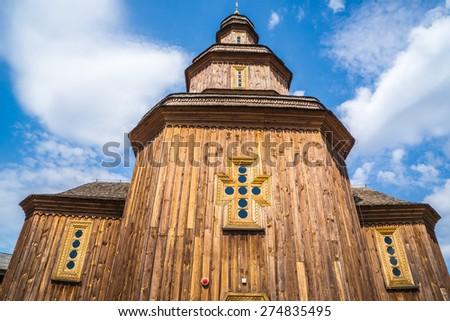 Cossak wooden church inside of the Baturin Citadel. Baturin, Ukraine.  - stock photo
