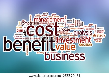 Cost benefit word cloud concept with abstract background - stock photo