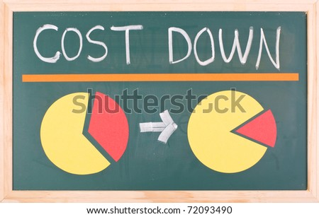 Cost down words and pie chart on blackboard - stock photo