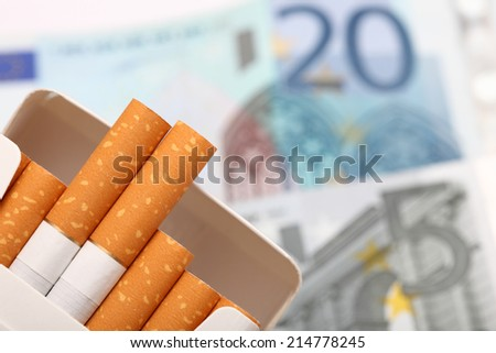 Cost of cigarettes. Close-up. - stock photo
