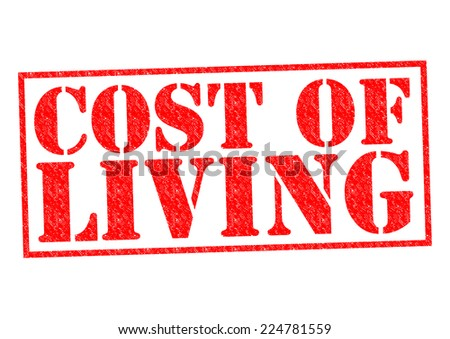 COST OF LIVING red Rubber Stamp over a white background. - stock photo
