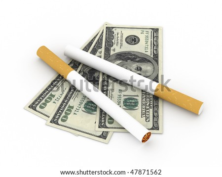 Cost of smoking. Two cigarettes and 100 dollar bills isolated on white background. High quality 3d render.