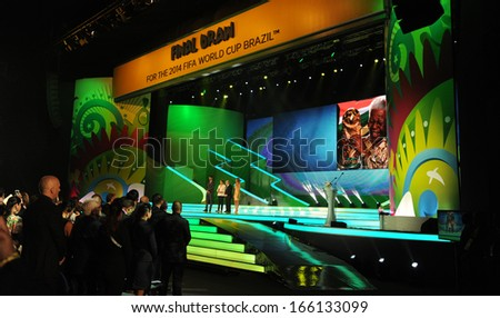 "COSTA DO SAUIPE, BRAZIL:DEC 6: President of Brazil Dilma Rousseff(2nd,L) besides FIFA's President Joseph ""Sepp"" Blatter(3rd,L) opens the FIFA Final Draw ceremony in Costa do Sauipe, Bahia on December 6, 2013"