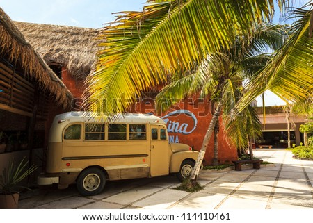 COSTA MAYA - MEXICO JAN 30 2016:Costa Maya cruise ship terminal & resorts is a perfect place for all visitors -young and old - since many attractions awaiting on this tropical paradise.  - stock photo