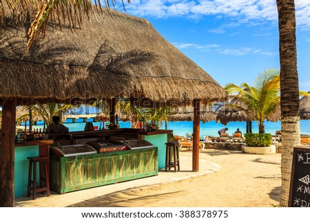 COSTA MAYA MEXICO JAN 30 2016:Norwegian Down, docked in Costa Maya, Mexico. Costa Maya is a perfect place for visitor since many attractions awaiting on this perfect tropical paradise.     - stock photo