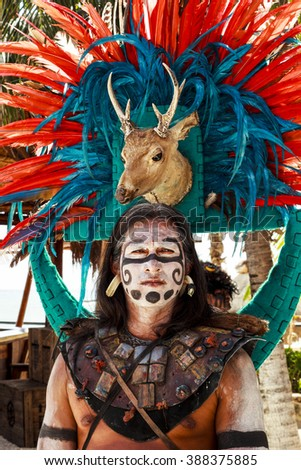 """COSTA MAYA MEXICO JAN 30 2016:Pre-Hispanic Mayan performance called """"Dance of the Owl"""" in Costa Maya Cruise ship Terminal & Resorts. Perfect place for visitor since many attractions awaiting. - stock photo"""