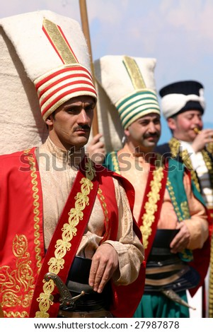 COSTA MESA, CA - APRIL 4 : Turkish musicians marching band perform at the Anatolian Cultures and Food Festival at the Orange Country Fair Grounds April 4, 2009 in Costa Mesa, CA. - stock photo