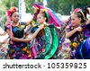 COSTA MESA, CA - JULY 24: Unidentified Mexican dancers perform in traditional costumes on stage at the Orange County State Fair in Costa Mesa, CA on July 24th 2010. - stock photo