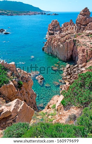 Costa Paradiso rocky coastline, Sardinia - stock photo
