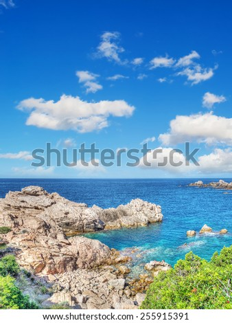 Costa Paradiso rocky shore in hdr tone mapping effect - stock photo