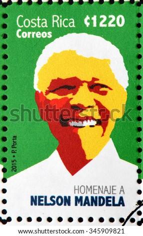 COSTA RICA - CIRCA 2015: A stamp printed in Costa Rica shows Nelson Mandela, circa 2015 - stock photo