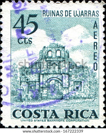 COSTA RICA - CIRCA 1967: A stamp printed in Costa Rica shows Ruin of Ujarras, circa 1967  - stock photo