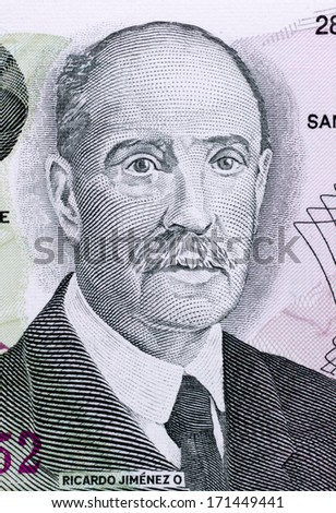 COSTA RICA - CIRCA 1993: Ricardo Jimenez Oreamuno (1859-19458) on 100 Colones 1993 Banknote from Costa Rica. President of Costa Rica during 1910-1914,1924-1928 and 1932-1936.