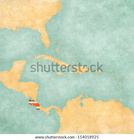 Costa Rica (Costa Rican flag) on the map of Caribbean and Central America. The Map is in vintage summer style and sunny mood. The map has vintage atmosphere, which acts as a watercolor painting.  - stock photo