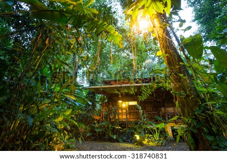 Costa Rica, eco lodge in the rainforest at Puerto Viejo de Talamanca, luxury lodging - stock photo