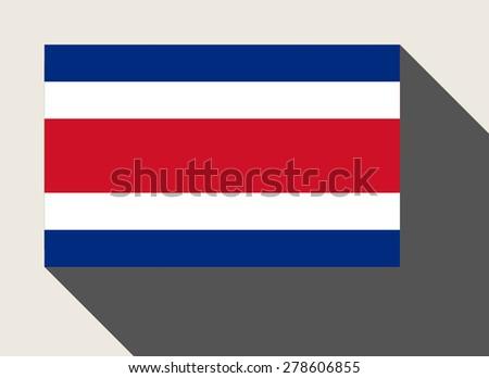 Costa Rica flag in flat web design style. - stock photo