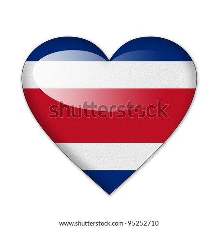Costa Rica flag in heart shape isolated on white background - stock photo