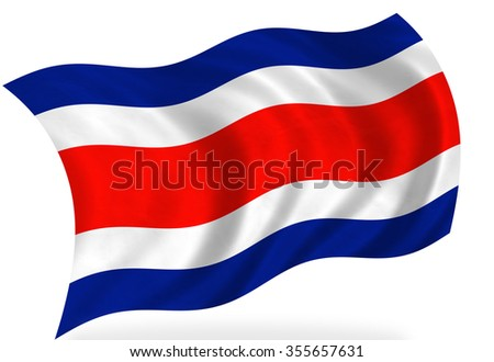 Costa- Rica flag, isolated