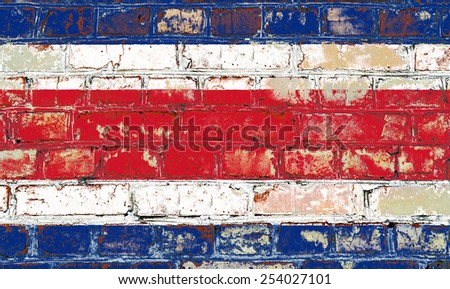 Costa Rica flag painted on old brick wall texture background - stock photo