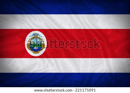 Costa Rica flag pattern on the fabric texture ,vintage style - stock photo