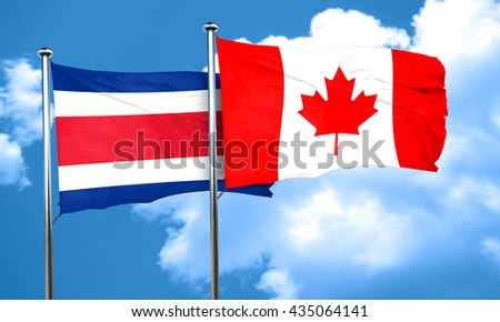 Costa Rica flag with Canada flag, 3D rendering